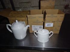 Five Villeroy & Boch china sugar pots and one china teapot.