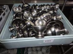Stainless steel dessert bowls.