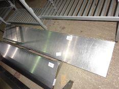 Stainless steel wall shelf with brackets, width 180cms, depth 30cms.