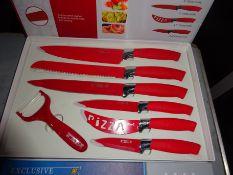 Coloured knife set, red.