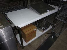 New stainless steel prep table with under shelf, width 150cms, depth 60cms and height 90cms.