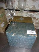 Six champagne flutes and six wine glasses.