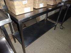 Stainless steel preparation table with under shelf, width 130cms, depth 55cms and height 90cms.