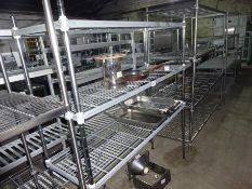 Three tier wire rack, width 150cms, depth 50cms and height 170cms.