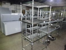 Four tier wire rack, width 90cms, depth 60cms and height 185cms.