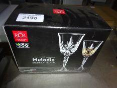 New Melodia six goblet glasses.