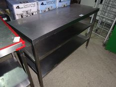Stainless steel preparation table with under shelf, width 135cms, depth 50cms and height 90cms.