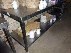 Mobile stainless steel preparation table with under shelf.