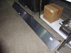 Stainless steel wall shelf with brackets, width 130cms, depth 25cms.