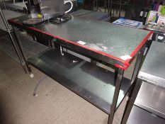 Stainless steel preparation table with under shelf, width 150cms, depth 60cms and height 94cms.