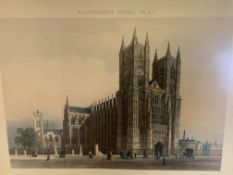 Eight prints of London scenes, plus one as found.