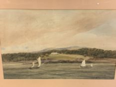 Watercolour of boats on a lake with woods and a house.