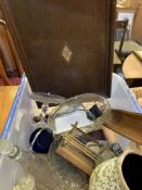 Box of bric a brac, including vintage cut glass, a tea caddy and a mahogany tray