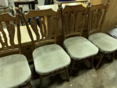 Set of four turned oak framed dining chairs