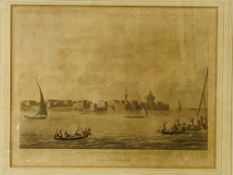 """Print """"Fort and Harbour of Aboukir""""; a Henry Alken print, and an embroidery on silk"""