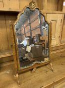 Walnut framed toilet mirror with decorative scalloped pediment