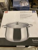 Stainless steel casserole pot. This item carries VAT.