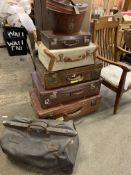 Six items of leather luggage