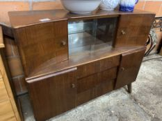 1950's sideboard with glass sliding doors.