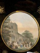 Set of five framed and glazed Le Blonde oval prints of various village scenes.