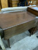 Mahogany drop side sofa table with frieze drawer to one end, and shaped edges to the flaps