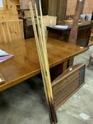 Mahogany billiards and snooker score board and seven cues