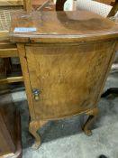 Walnut veneer pot cupboard