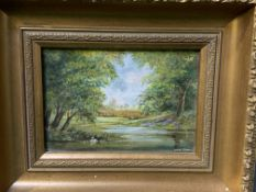 Four framed and glazed oil on board country landscapes