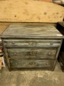 Painted antique pine chest of three graduated drawers