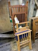 Folding garden stool, folding director's-style chair, folding teak armchair.