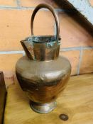 Hammered copper Arts and Crafts style twin spout flagon