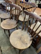 Five elm seat rail back Windsor style kitchen chairs with circular seats