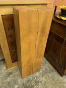 Oak cabinet with decorative inset panels to doors, and a small hardwood two door cabinet.