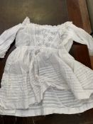 Eight cotton and lace christening gowns and dresses