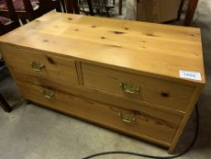 Large pine two over one chest of drawers