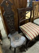 Oak Spinner's chair, and a mahogany framed dining chair