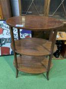 Mahogany three tier display table