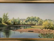 """Framed oil on canvas """"Fishing at Rabley Lakes"""", and a watercolour """"Young Thrush on Hawthorn""""."""