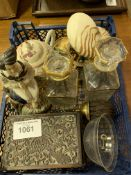 Pair of gilt decorated small decanters and assortment of other items