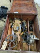 Golden Fleece sock knitting machine in wooden box. This item carries VAT.