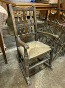 Oak framed child's rocking chair