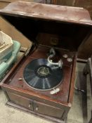 Mahogany cased HMV model 103 windup Gramophone, together with a quantity of 78RPM records