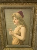 Gilt framed print on canvas of a girl holding a daisy and two framed oleographs