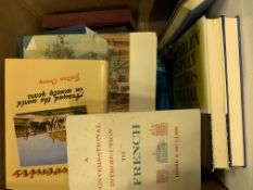 Three boxes containing a large quantity of books about Hungary.