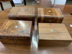 Three walnut and mahogany inlaid boxes, and a mahogany humidor