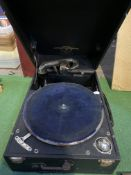 Gramophone player and a record case of mainly Jazz 78s