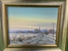 """Pair of silver colour framed oils on board, """"Midwinter"""" and """"Beached at Aldeburgh"""""""