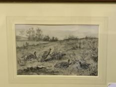 Framed and glazed grey and black watercolour of partridges signed A J Wall