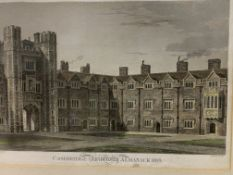 Framed and glazed etching of St John's College from Cambridge University Almanak 1819.