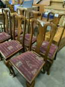 Four mahogany framed drop-in seat high splat back dining chairs, and two similar